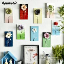 Aqumotic Wooden Hand-painted 3d Flowers Wall Decoration Green Plant Pendant Literature And Art Wall Stickers Modern Decor