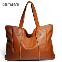 SUNNY BEACH Large Women Genuine Leather Bag Real Cow Leather Female Classic Brand Designer Handbag Office Gril Tote Shoulder bag(China)