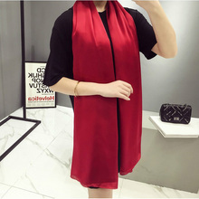 2017 New Fashion Imitated Silk Scarf Women Large Silk Scarves Luxury Brand Beach Sunscreen Solid Long Pashmina Wraps For Ladies