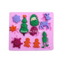 C069 Santa Claus and the Christmas tree hower party fondant molds,silicone mold soap,candle moulds,sugar craft tools(China)