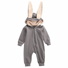 Infant Baby Girl Boy Clothes rabbit Bunny big Ear Romper Jumpsuit sleepwear Autumn Winter overalls Bebe roupa Rompers(China)