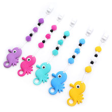 Silicone Teether Seahorse Teething Chain Toy Pacifier Clips Pendant Necklace Baby Carrier Accessory Pacifier Clip Holder Safety
