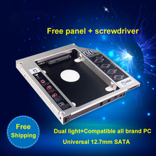 "Universal 2nd Aluminum HDD Caddy SATA 3.0 12.7mm for 2.5"" SSD Case HDD  Enclosure for Notebook CD-ROM hard drive bracket"