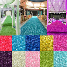 New 140cm Width Satin fabric 3D Rose Flower Aisle Runner Marriage Carpet Curtain Wedding party Backdrop Decoration 10m/lot