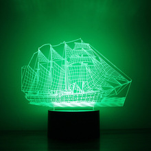 LED Night Lamp Amazon explosion models sailing 3D night light table lights button charging creative led lights