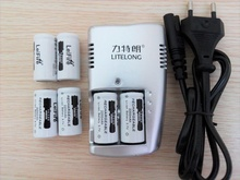 FREE SHIPPING 6pcs 3.7v 2200mAh CR123A rechargeable lithium battery+1pcs dedicated charger 16340 camera