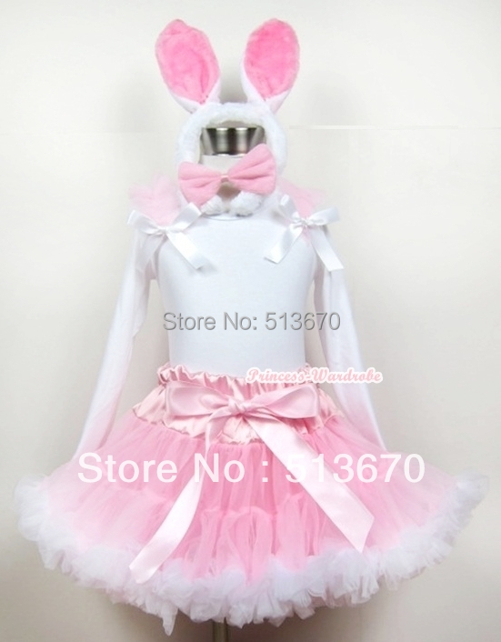 Light Pink White Pettiskirt with Matching White Long Sleeve Top with Light Pink Ruffle &amp; White Bow With White Rabbit Ear MAMW198<br>