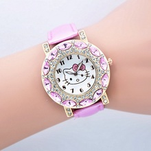 2016 New Fashion hello kitty watch girl kids women leather strap dress watches quart rhinestone quart wristwatches
