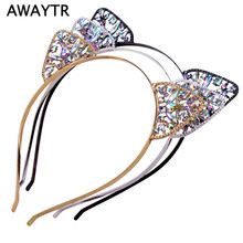 AWAYTR 2017 Halloween Hair Hoops Headband Trendy Elastic Crystal Crown Cat Ears Hair Accessories For Girls Party Tiara Gift(China)