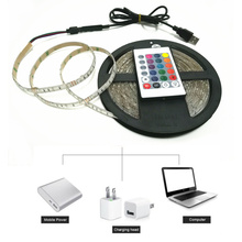 DC 5V RGB LED Strip Light With USB Plug 3528/2835 SMD TV Background Lighting Kit Cuttable with 24Key RF Controller or Mini 3Key(China)