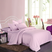 Luxury 100% Egyptian cotton 4pcs bedding set(1 duvet cover +1 flat sheet +2 pillowcase) queen king bedsheet light purple(China)