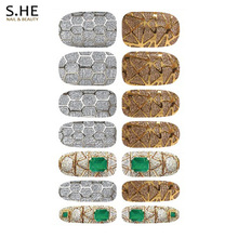 Luxury 7 Pairs Water Transfer Foil Nail Sticker Metallic Jewel Fantasy Design Nail Art Decorations Decals Manicure Wraps