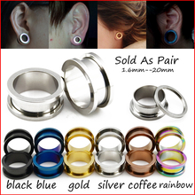 BOG- 1 Pair Titanium Anodized Blue Gold Black Screw On Hollow Tunnels Ear Plugs Earlets Expanders Gauges Body Piercing Jewelry
