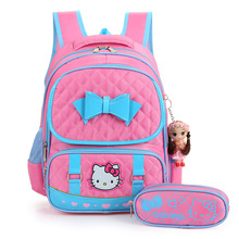 2017 New Hello Kitty Backpack Female Girl School bags Primany SchoolBag for girls children backpack sac a dos enfant(China)