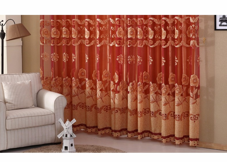 European Royal Curtains 11 Colors Embroidered Voile Curtains for Living Room Drapes Crystal Beaded Curtains Sheer (37)