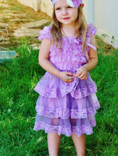 Romantic Lavender Flower Girls Petti Lace Dress for Wedding Party