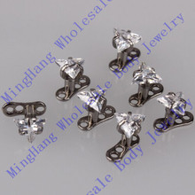 3 Prong Set Triangle CZ Piercing Jewelry Micro Dermal Anchor Skin Diver 10pcs/lot(China)