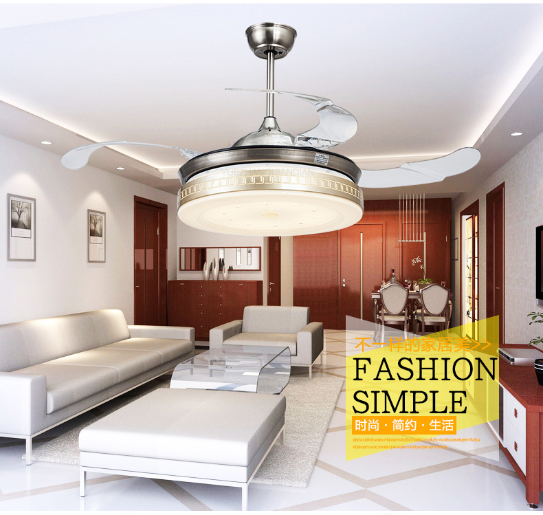 Living Room Dining Ceiling Fans 42inch LED Fan Lights Retractable Golden Lamps With Remote Control