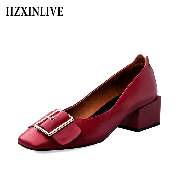 HZXINLIVE 2018 Fashion Women Shoes Genuine Leather Loafers Womens Casual Shoes Handmade Buckle Platform Heels Ladies Shoes<br>