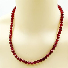 Vintage Classic Natural Stone Jewelry Elegant Fantastic Deep Red Rubies  Beaded Chain Choker Necklace 45 cm for Women 2016 New