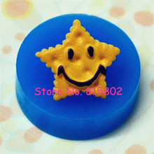 Free Shipping QYL107U Smiley Star Shaped Cookie / Biscuit Silicone Mold - Miniature Food, Jewelry, Charms (Resin, Paper Clay)(China)