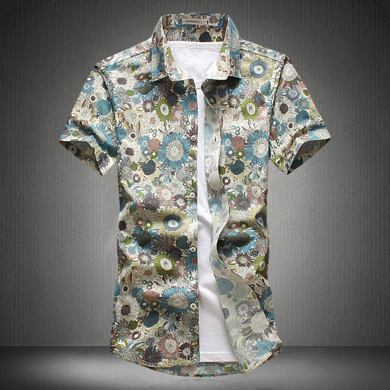 Men Floral Shirt New Fashion Print Colorful Summer Flower Camisa Social Masculina Blouse Street Wear Tops Tees Plus Size 5XL