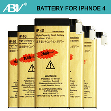 Wholesale 10pcs/Lot Good Quality 1420mAh Golden bateria ip4 Mobile Phone Battery for iPhone 4 Battery