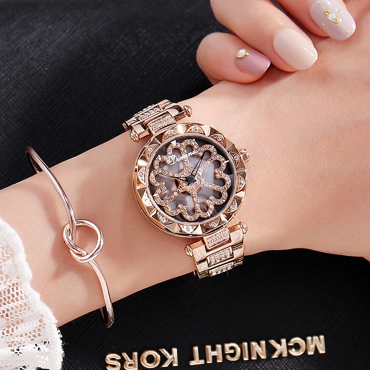 2018 New Fashion Men Women Watch Stainless Steel Wristwatches Lady Shining Rotation Dress Watch Big Diamond Stone Wristwatch<br>