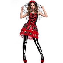 2017 Adult Girls Halloween Corpse Bride Costume Women Short Red Halter Dress Cosplay Fancy Floral Outfit For Ladies Plus Size