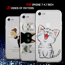 Cover for iPhone 7 Cover 4.7-inch Patterned TPU Protection Gel Case for iPhone 7 Case Shell Cute Silicon Bag - Laughing Cat