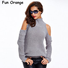 Fun Orange Turtleneck Off Shoulder Knitted Sweater Women Autumn Fashion Tricot Pullover Jumpers Pull Femme Oversized Capes
