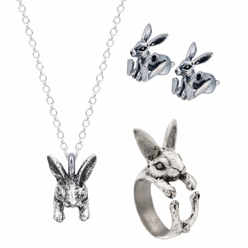 Kinitial New Fake Gauge Eearring Bunny Ratbbit Animal Shaped Necklace&Ring Plug Stud Earrings for Women Collar Necklace