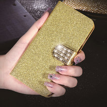 Luxury Leather Flip Case Cover for Apple iPod Touch 4 4th Cases Glitter Cell Phone Coque Wallet Capa Kickstand Card Holder(China)