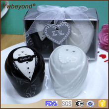 Best Quality  100pcs(50pairs)/lot wholesale Ceramic bride and groom salt and pepper shakers festive supplies wedding favour