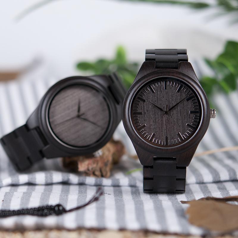 BOBO BIRD Mens Black Ebony Wooden Watches Wood Links Causal Quartz Wrist Watch in Gift Box custom logo 13