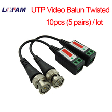 LOFAM 10pcs 5pair 3000FT Distance UTP Video Balun Twisted CCTV camera Balun Passive Transceiver BNC Cable Cat5 CCTV accessories