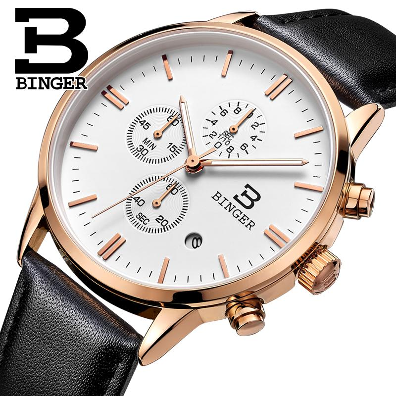 2017 New BINGER watches men luxury brand Wristwatches Quartz watch waterproof leather strap clock Auto Date Chronograph BG9201-3<br>