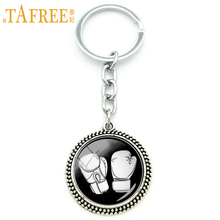 TAFREE Attractive trendy sports jewelry keychain boxing glove art pendant key chain ring holder silver plated men gift KC281
