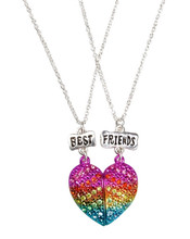bff rhinestone magnetic heart necklaces Set of 2 BFF necklaces with rainbow rhinestone broken heart pendant on silver chains