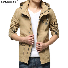 2016 New Autumn Winter Military Style Fashion Brand Men Jacket Hooded Slim Fit Washed Purified Cotton Mens Jackets Coats