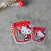 100pcs Red Glass Bottles cat Candy Cookie Bags Wedding Birthday Party Gift Bag Craft Self Adhesive Plastic Biscuit Packaging Bag