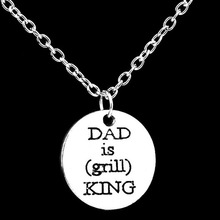 2016 Father's Day Gift Dad is King Necklaces Pendant Letter,Zinc Alloy Fashionable Charm Love Dad Mom Daughter Necklace Father