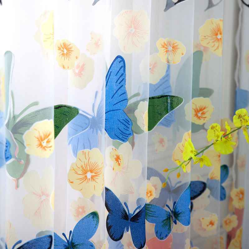 100*200cm Rod Offset Printing Butterfly Screen Window Curtain Translucidus Tulle Btmv