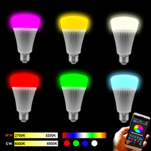 AC85-265V LED lamps E27/E26 Buletooth 4.0 Smart LED Light Bulb 8W RGB warm white Dimmable Lamp musce APP Control apple/android
