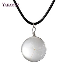 Dandelion Seeds Floating Locket Necklaces Women's Jewelry Lovely Transparent Glass Bottle Wishing Pendant Necklaces