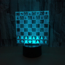 Creative Chess 3d Vision Lamp Send Friends Birthday Gift Touch 3d Nightlight Novelty Luminaria Led Led Usb Light Fixtures(China)