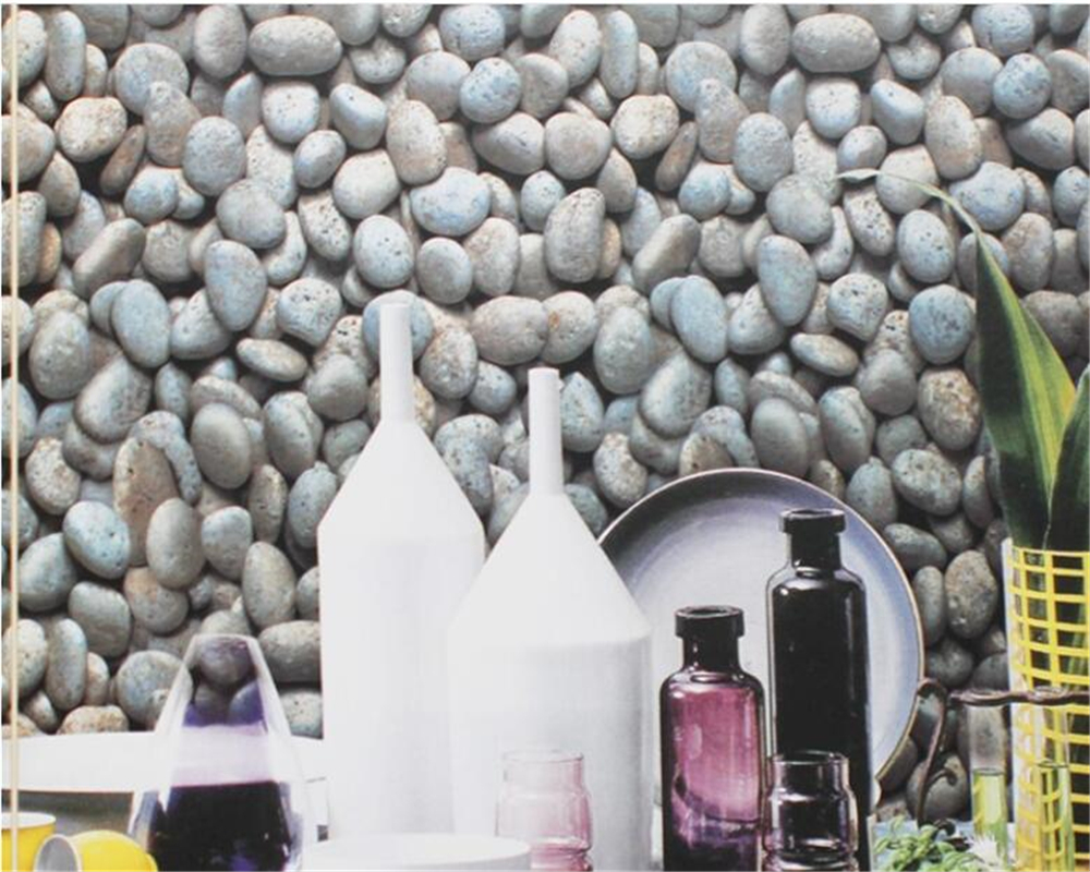 beibehang Simulation cobbled head pattern culture stone wallpaper thickened 3d wallpaper living room restaurant study background<br>