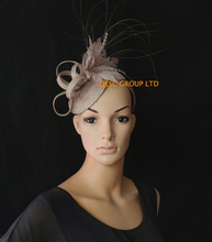 NEW 20 colours Oyster pink Sinamay fascinator Feather Fascinator for Royal Ascot Derby Kentucky Hat Wedding.FREE SHIPPING.
