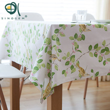 Sinogem Cotton and Linen Dining Table Cover High Quality Home Decor Christmas Table Cloth Leaves Print Table Cloth White(China)