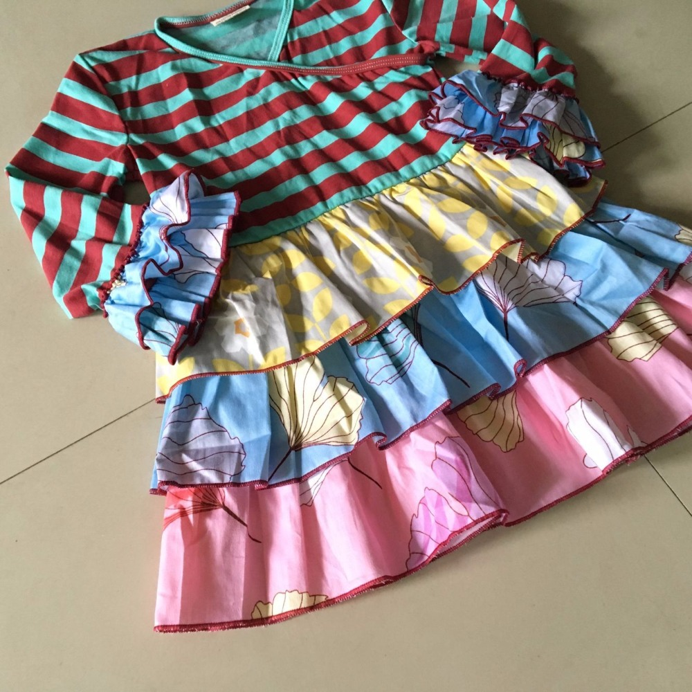 Ancient China Series 100% cotton  Summer and Autumn  striped cloth and  ruffles Baby Girls clothing for present Toddler Dress<br>